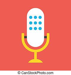vector, micrófono, icono