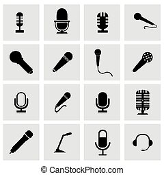 Vector microphone icon set on grey background