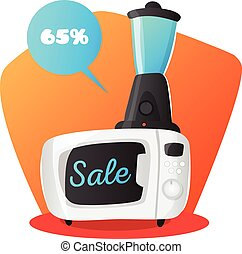 Vector microwave oven and mixer illustration in cartoon style. Kitchen electronics sale concept.