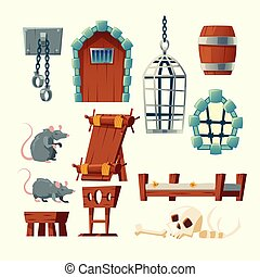 vector, middeleeuws, foltering, set, voorwerpen, gevangenis,...