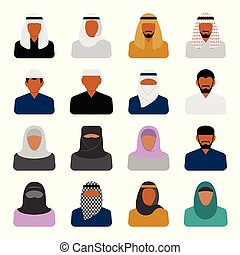 Vector Middle Eastern people icons in flat style