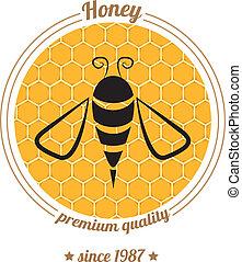 vector, miel, plano de fondo, icono, abeja, peine
