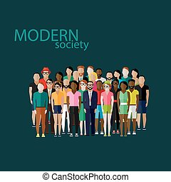 vector, miembros, sociedad, plano, grupo, ilustración, ...