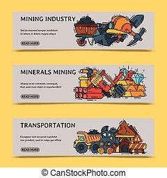 vector, mijnbouw, set, illustration., mijnwerker, industrie, beroep, uitrusting, machinery., uitrusting, tools., ondergronds, banieren, operations., occupation., bijzondere
