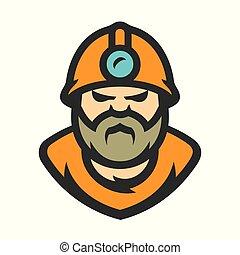 vector, mijnwerker, spotprent, illustration.