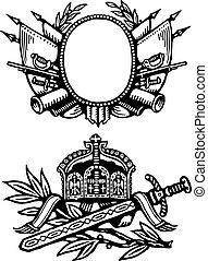 Vector Military Shield Ornaments