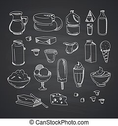 Vector milk or dairy products set hand drawn