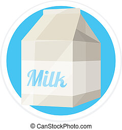 Vector Milk Package Flat Round Icon