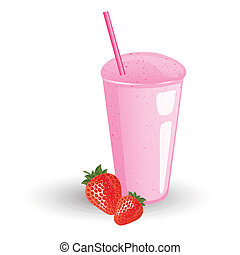 Vector illustration od a milk shake with fresh strawberries