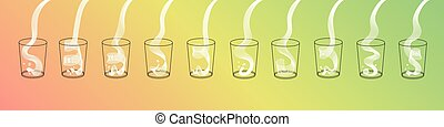 Vector milk splash pour in glass set. Vector isolated...