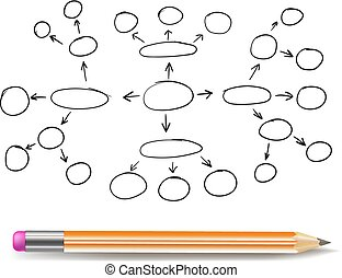 Vector Mind Map Blank Template, Hand Drawn Scheme, Plan Concept, Outline Drawing Isolated with Pencil.