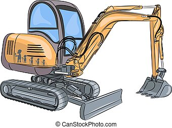 Vector Mini excavator. - yellow crawler mini excavator...