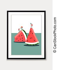 Vector Mini People and Watermelon Painting on Wall with Black Frame