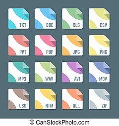 vector, minimaal, gevarieerd, plat, ontwerp, gekleurde, bestand, formaten, iconen, donkere achtergrond
