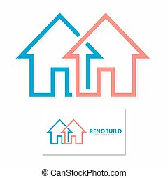 Vector minimal house line logo design