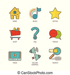 Vector minimal lineart flat common website elements iconset