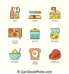 Vector minimal lineart flat cooking iconset
