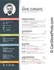 Vector minimalist cv / resume template - dark color version