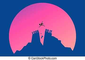 vector minimalist style  businessman jumping on I can do it or I can't do it text over cliff on sunset background,Business concept idea