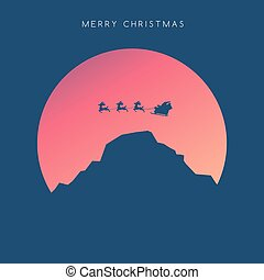 vector  Minimalist style Marry Christmas Happy New Year concept. Flat Minimal Landscape Illustration Eps10
