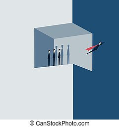 Vector Minimalist style project teamwork concept illustration of business people working together as team.