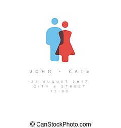 Vector Minimalist Wedding invitation