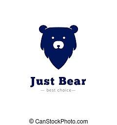 Vector minimalistic bear head logo. Brand sign