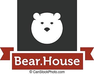 Vector modern minimalistic bear head square logotype
