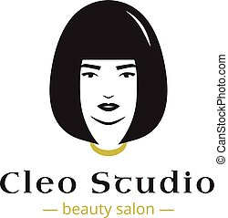 Vector minimalistic beauty studio logo in black and gold colors. Beautiful woman head logo. Spa salon logo template.