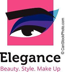 Vector minimalistic beauty studio logo in blue and purple colors. Beautiful woman head logo. Spa salon logo template.