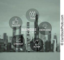 Vector minimalistic business schema diagram