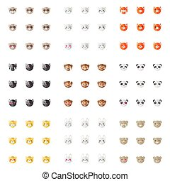 Vector minimalistic flat animal emoticons collection. Nine emoji heads. Cat, bunny, fox, dog, ferret, monkey, panda, tiger and bear heads with different emotions