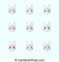 Vector minimalistic flat bunny emotions icon set