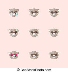 Vector minimalistic flat ferret emotions icon set