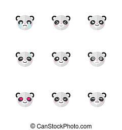 Vector minimalistic flat panda head emotions icon set