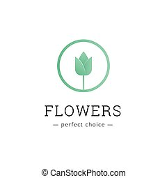 Vector minimalistic flower shop logo. Tulip brand sign
