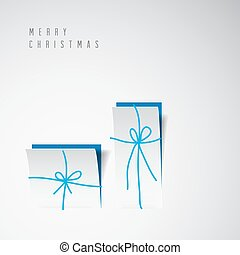 Vector Merry Christmas card with a white minimalistic gift boxes cut out of paper