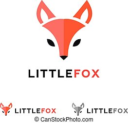 Vector minimalistic red fox head logo in flat style - Vector...