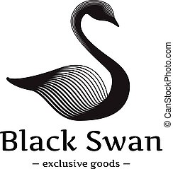 Vector minimalistic swan logo. Beautiful black ink style...