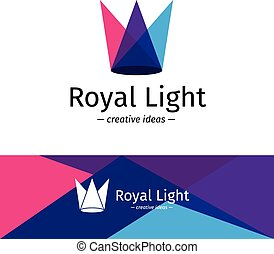 Vector trendy minimalistic three color light rays logotype. Minimalistic crown logo.