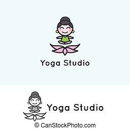 Vector minimalistic young girl cartoon character. Yoga...