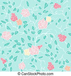 Vector mint seamless pattern with pink roses and branches -...