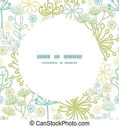 vector, misterioso, verde, jardín, marco, seamless, patrón,...