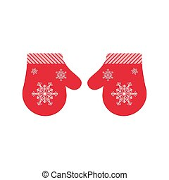 Vector mittens isolated. - Red vector mittens. Pair of...