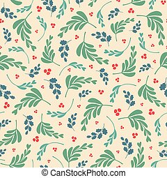 Vector mixed leaves and berries repeat seamless pattern.