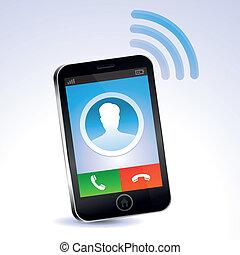 vector, mobiele telefoon, roepende