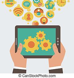 Vector mobile app development concept - hands holding tablet...