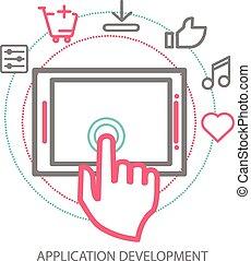 Vector mobile app development concept, line illustration
