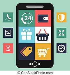 Vector mobile app development, social network concept