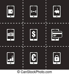 Vector mobile banking icon set